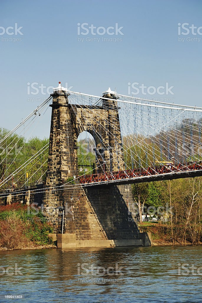 Suspension bridge over Ohio River stock photo