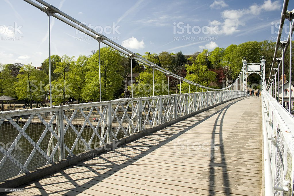 Suspension Bridge Over River Dee in Chester royalty-free stock photo