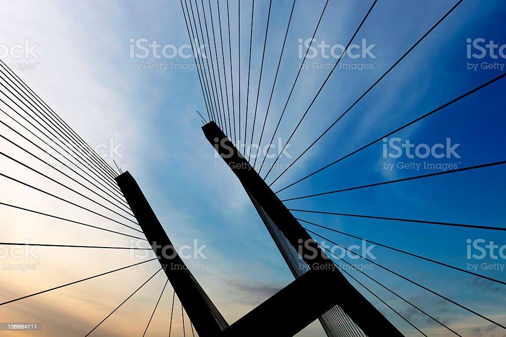 XXL suspension bridge silhouette stock photo