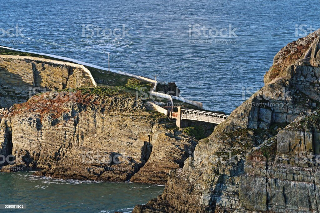 Suspension Bridge to South Stack Lighthouse stock photo