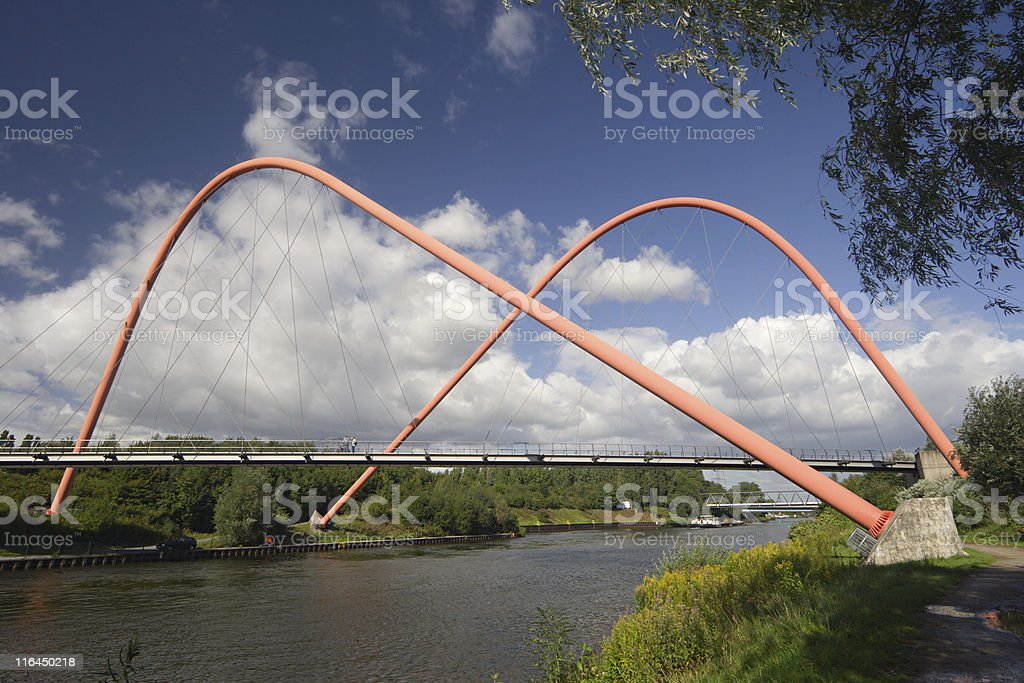 Suspension Bridge With Arches royalty-free stock photo