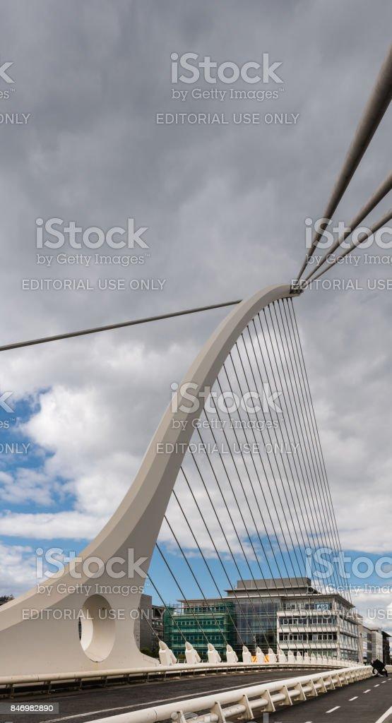 Suspension cables of Samuel Beckett Bridge, Dublin Ireland. stock photo