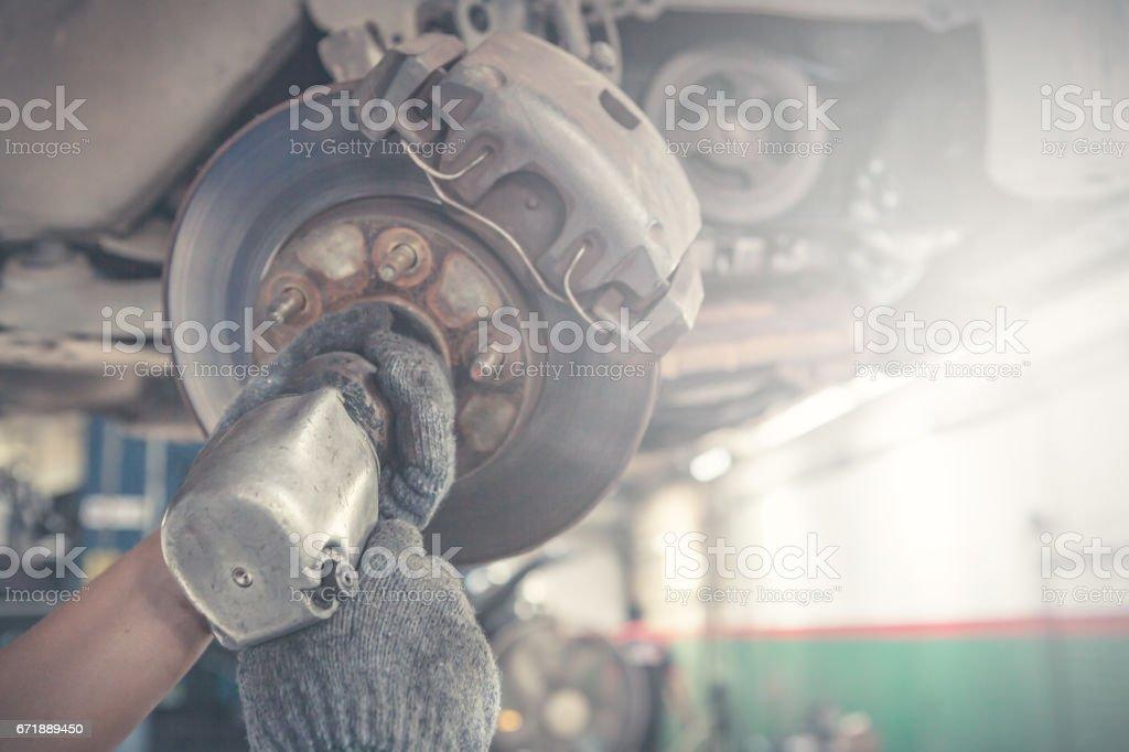 Suspension Car repairing stock photo