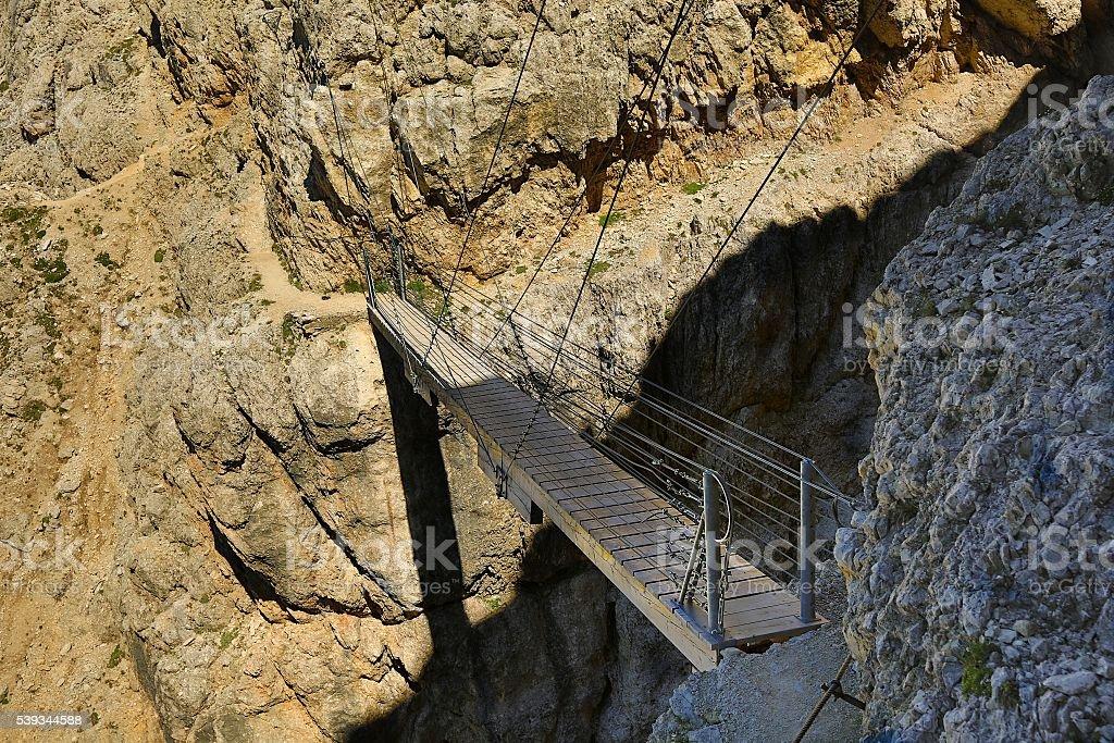 Suspension Footbridge In The Dolomites stock photo