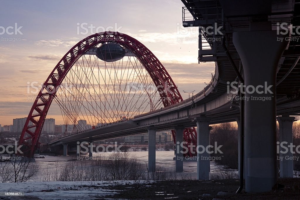 Suspension highway bridge at sunset royalty-free stock photo