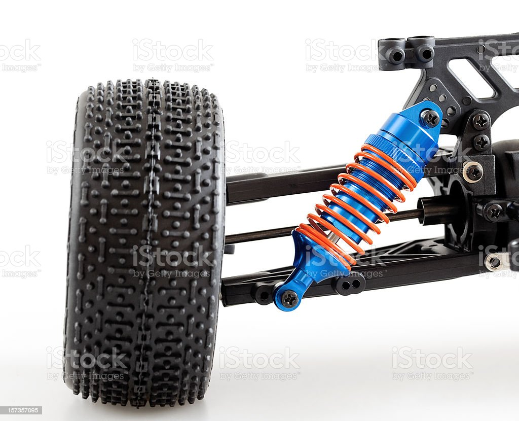 suspension of modern radio controlled car stock photo