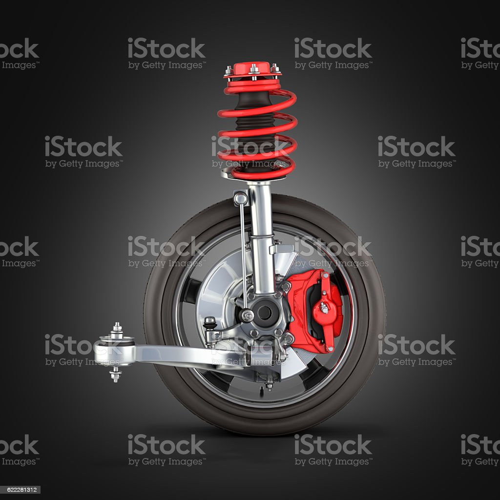 suspension of the car with wheel on black gradient 3d stock photo
