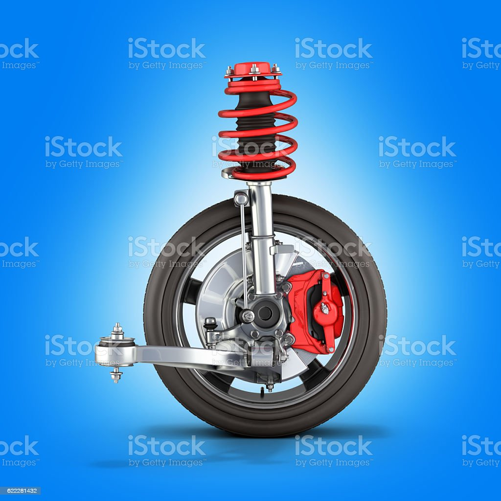 suspension of the car with wheel on blue background 3d stock photo