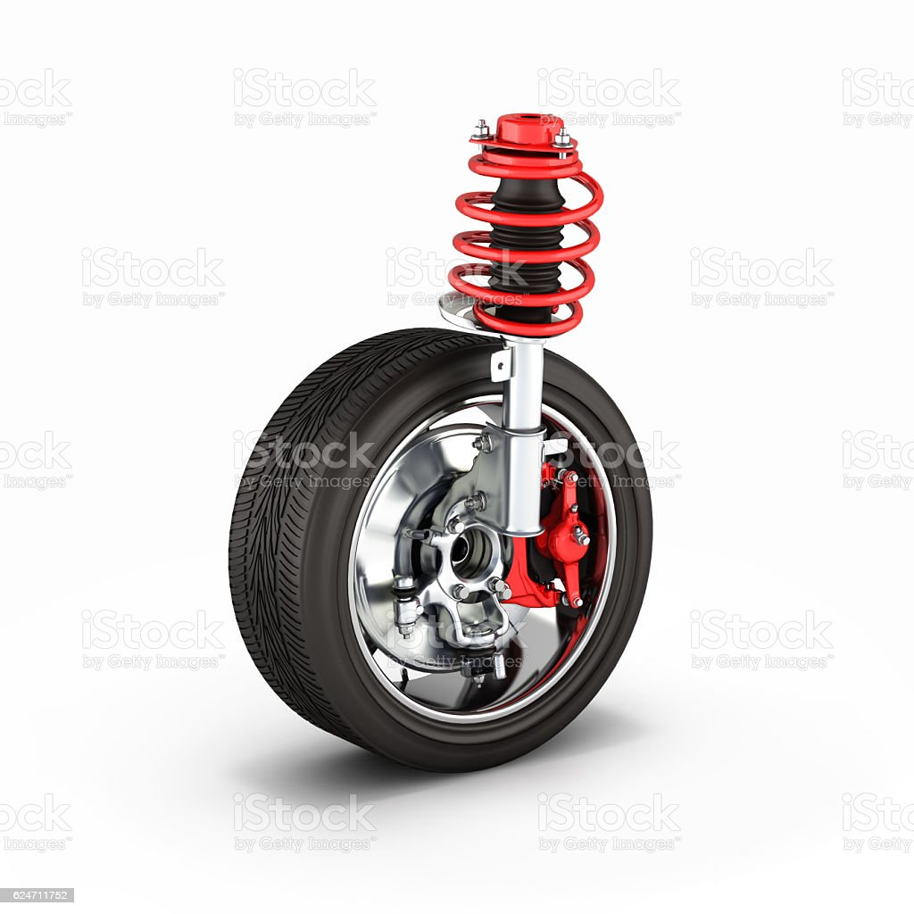 suspension of the car with wheel on white background 3d stock photo