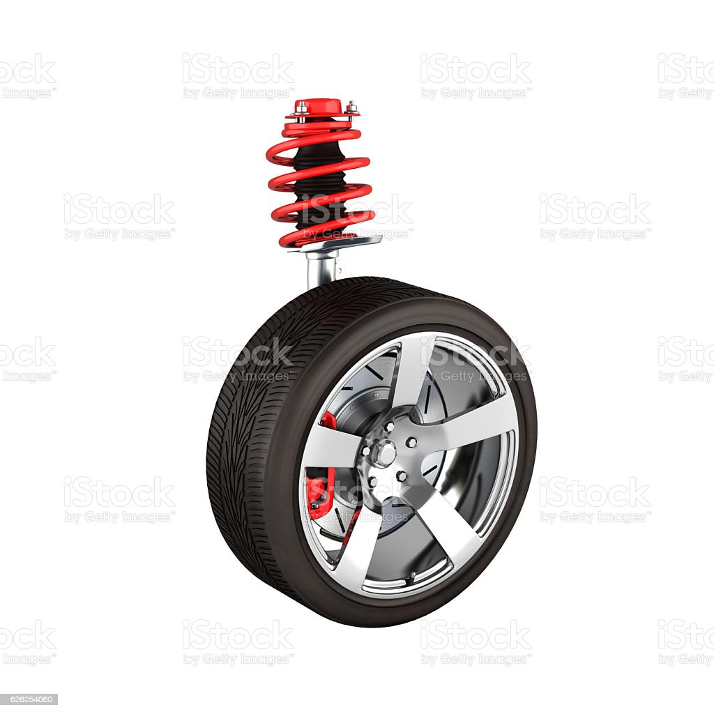 suspension of the car with wheel perspective view without shadow stock photo