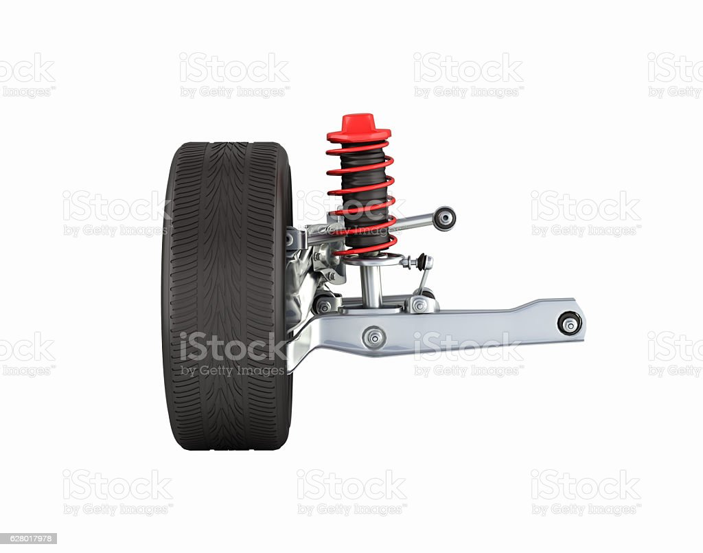 suspension of the car with wheel side view without shadow stock photo