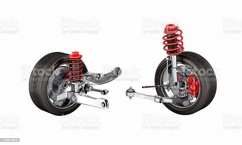 suspension of the car with wheel without shadow 3d stock photo