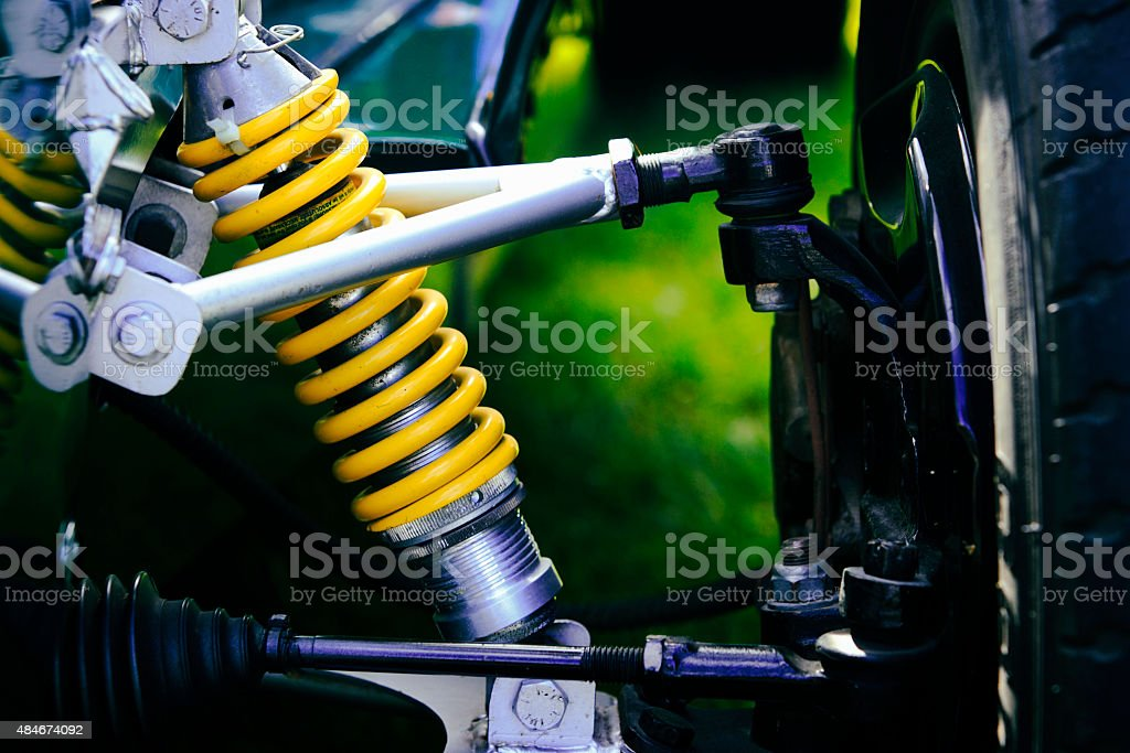 Suspension Old Racing Car Shock Absorber Spring stock photo