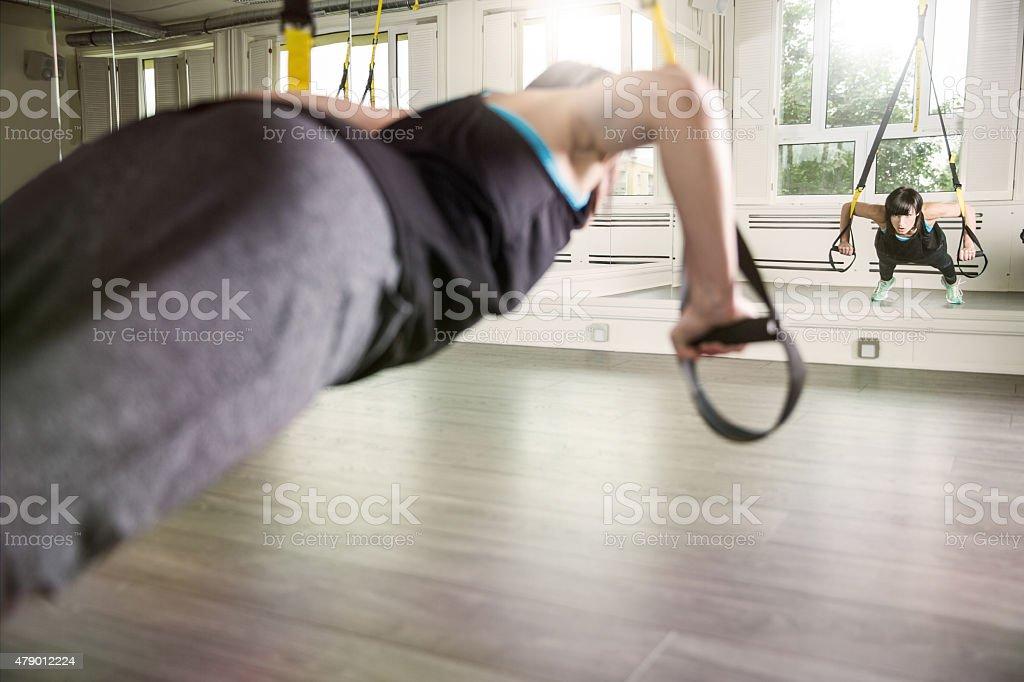 Suspension workut stock photo