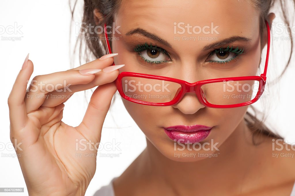 suspicious with glasses stock photo