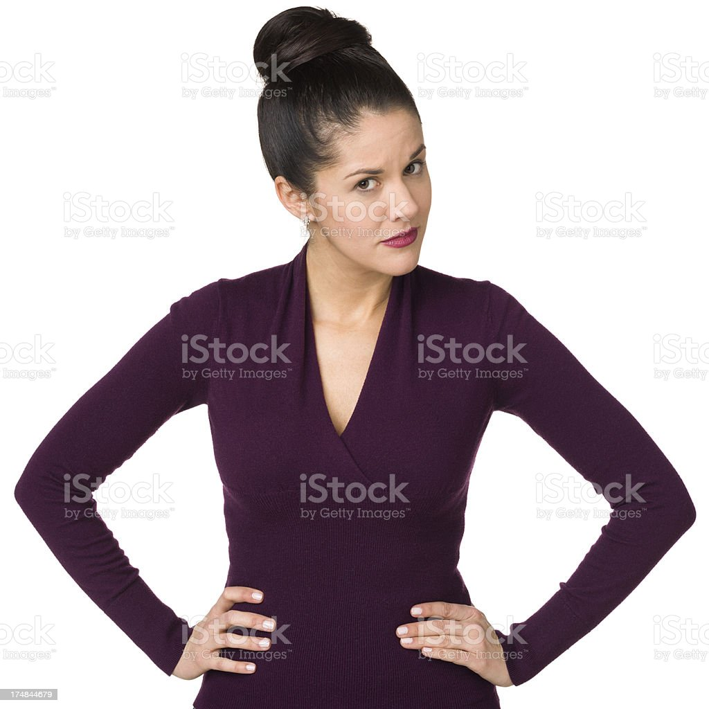 Suspicious Woman With Hands On Hips royalty-free stock photo