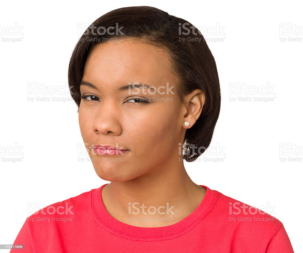 Suspicious Young Woman Looking At Camera royalty-free stock photo
