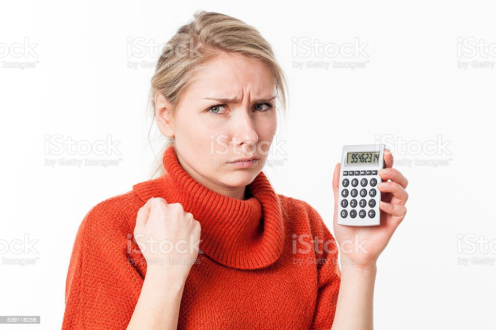 suspicious young woman showing fist for symbol of female equality stock photo
