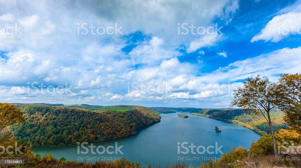 Susquehanna River Under a Cloud-filled Sky stock photo