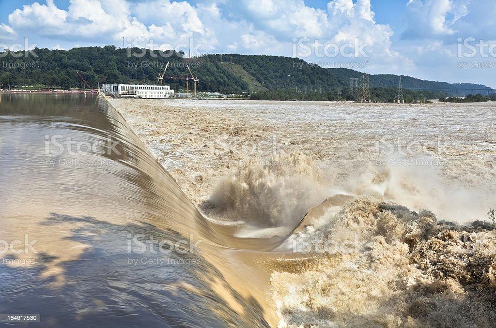 Susquehanna River's Turbulent Flow over Holtwood Dam - 2011 Flood stock photo