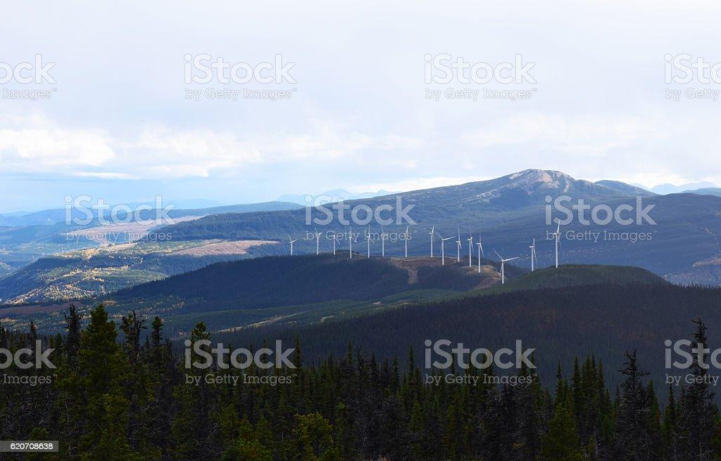 Sustainable Alternative Energy Wind Turbines Mountain Nature Landscape British Columbia stock photo