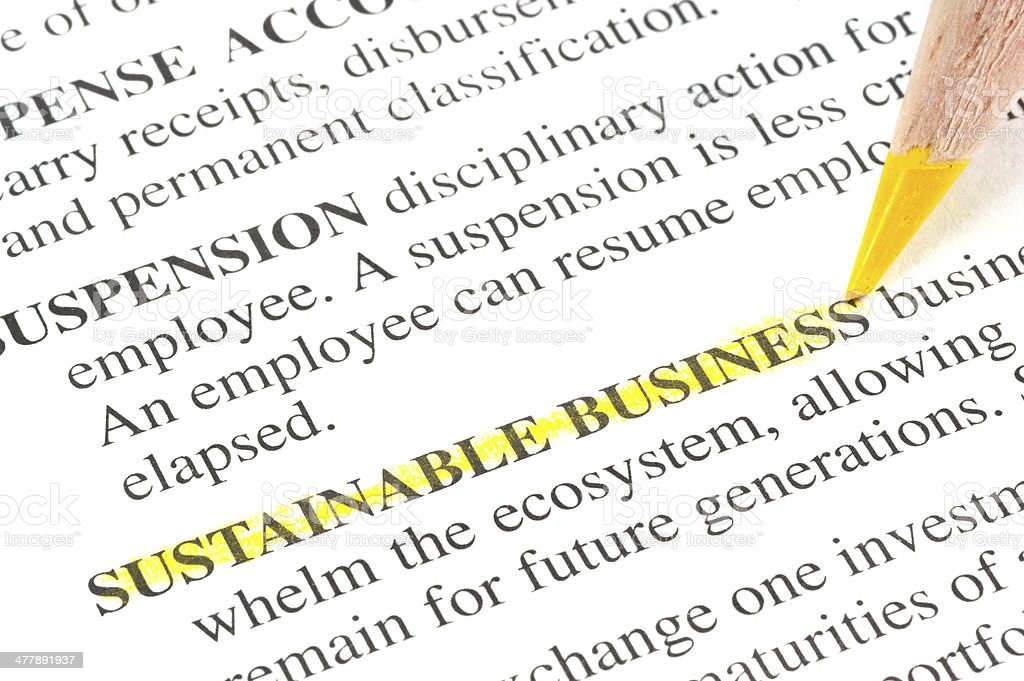 sustainable business definition highligted in dictionary royalty-free stock photo