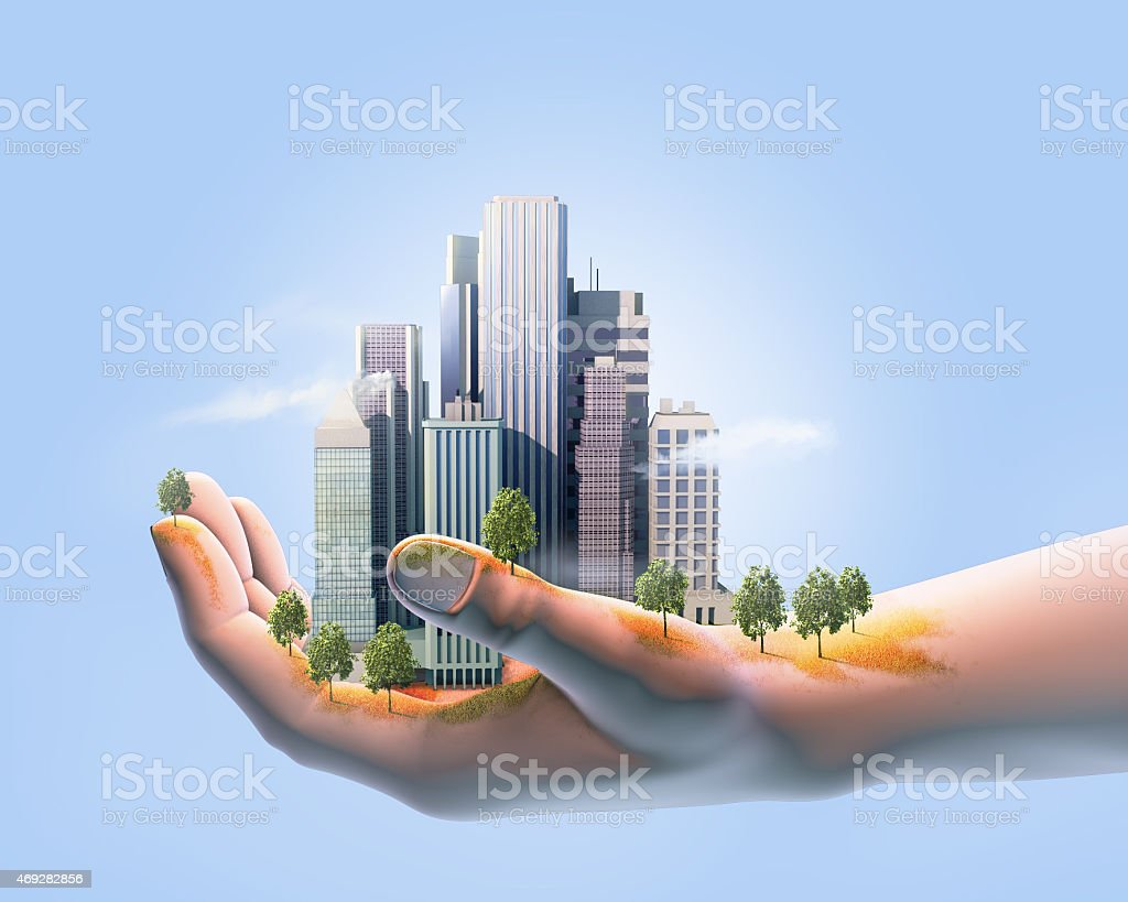 Sustainable city stock photo