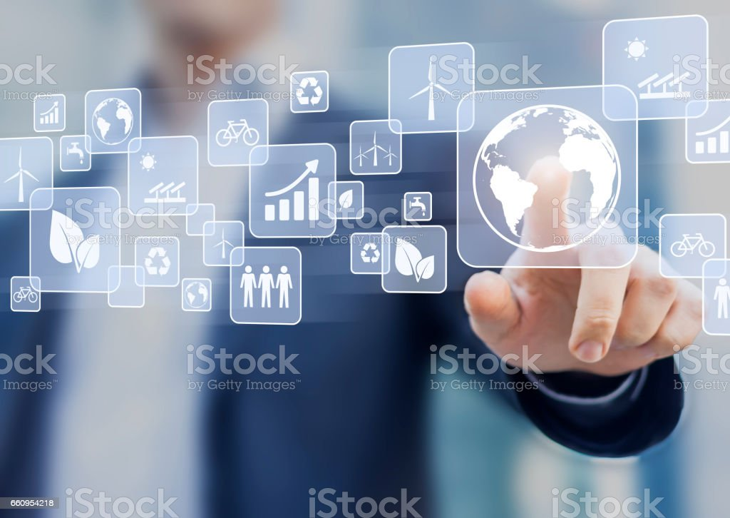 Sustainable development, ecology and environment protection concept, person touching button stock photo