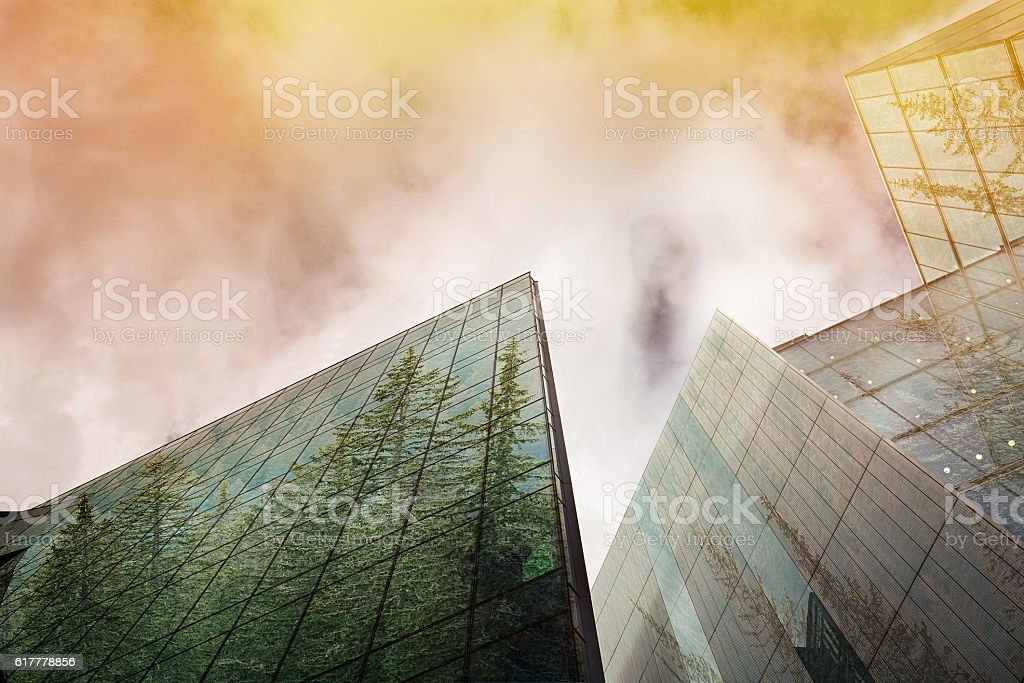 Sustainable, green energy city, urban ecology concept and modern...