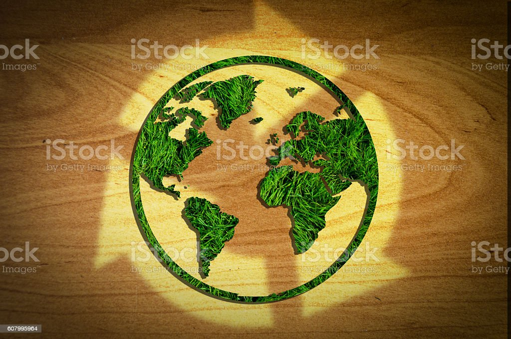 sustainable world globe stock photo