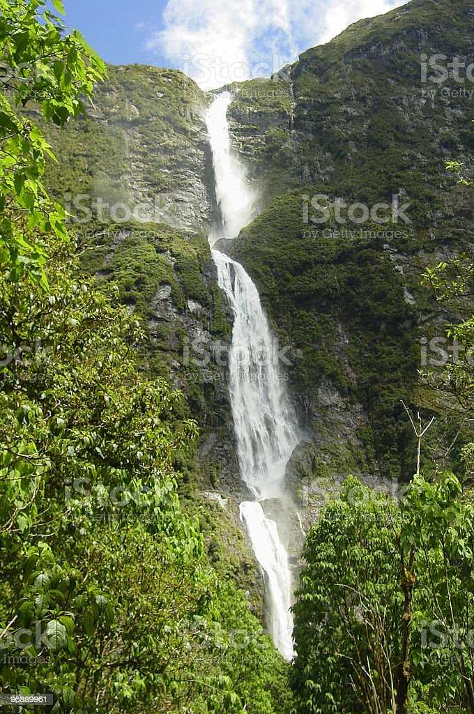Sutherland Falls, New Zealand royalty-free stock photo
