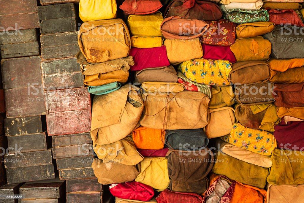 sutras in Delgerlin Choirin Khiid monestary stock photo