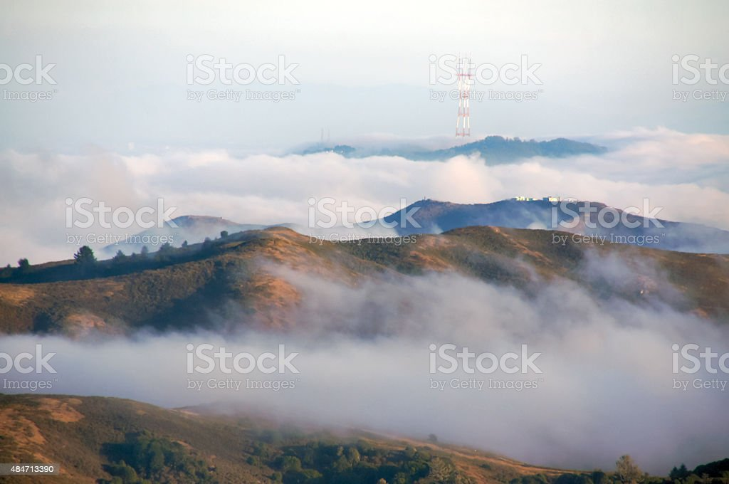 Sutro Tower and Foggy View of San Francisco stock photo