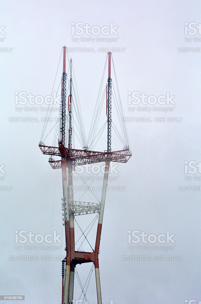 Sutro Tower in fog at San Francisco - California stock photo