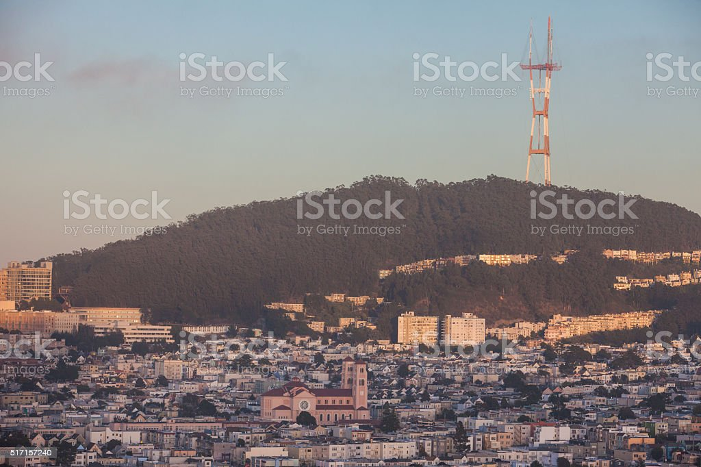 Sutro tower, Inner Sunset and Forrest Knolls San Francisco stock photo