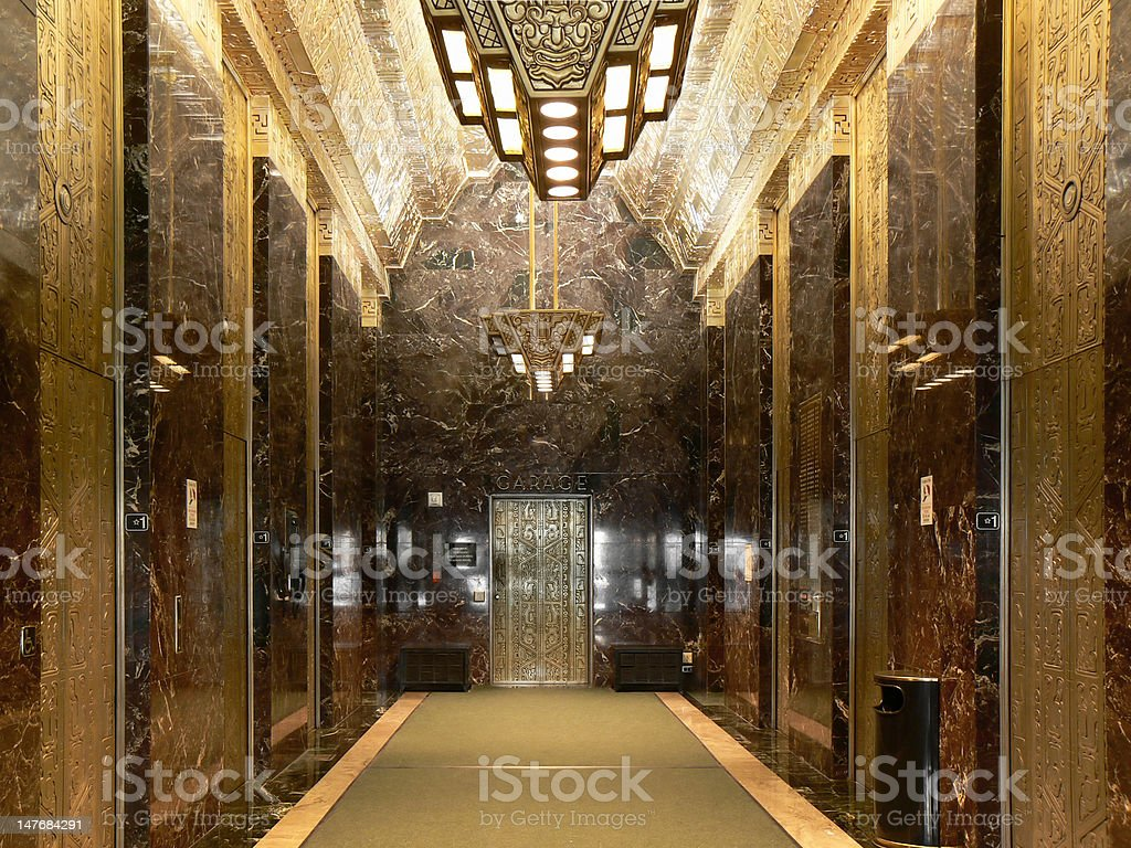 Sutter Street Art Deco Lobby, San Francisco, California stock photo