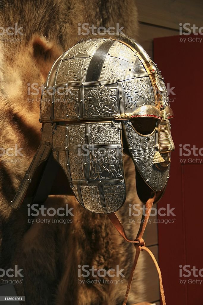Sutton Hoo Anglo-Saxon Helmet Side View stock photo