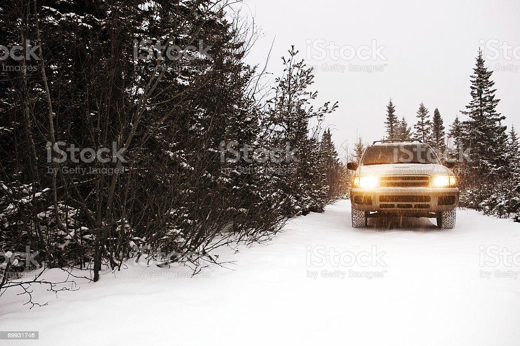Suv in Snow stock photo