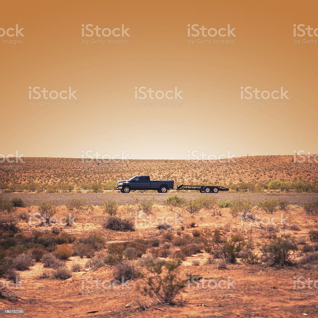 Suv running fast on US highway royalty-free stock photo