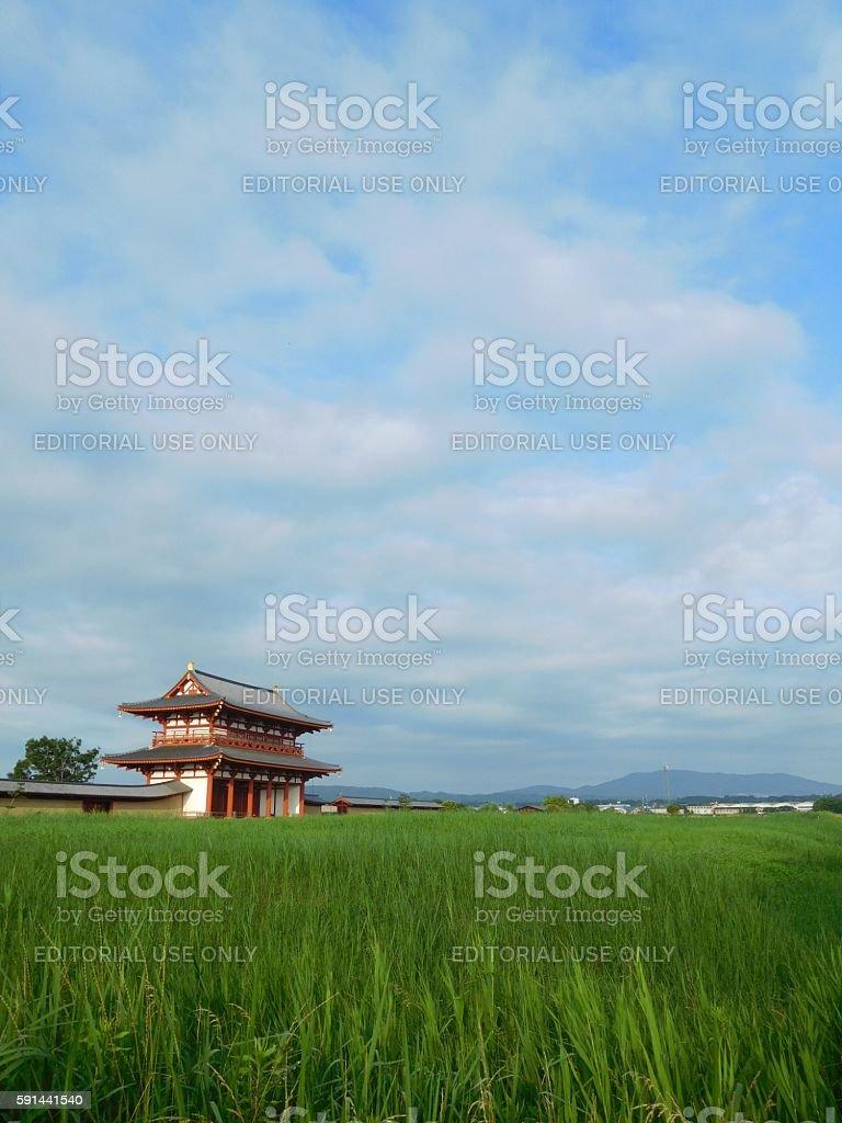 Suzakumon, the main gate of the ancient capital in Nara stock photo