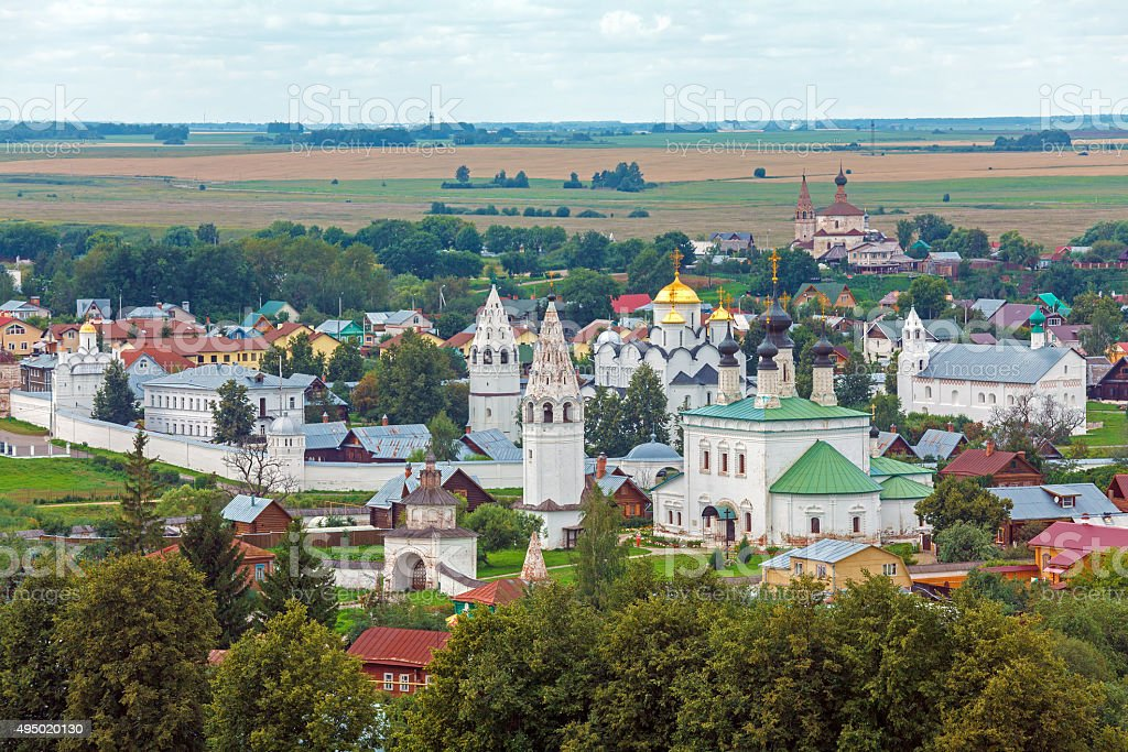 Suzdal City Aerial View with Pokrovsky convent, Russia stock photo