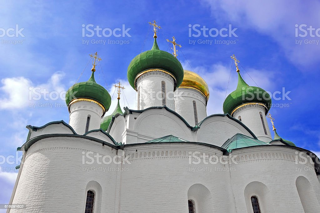 Suzdal. Domes of the Transfiguration Cathedral stock photo