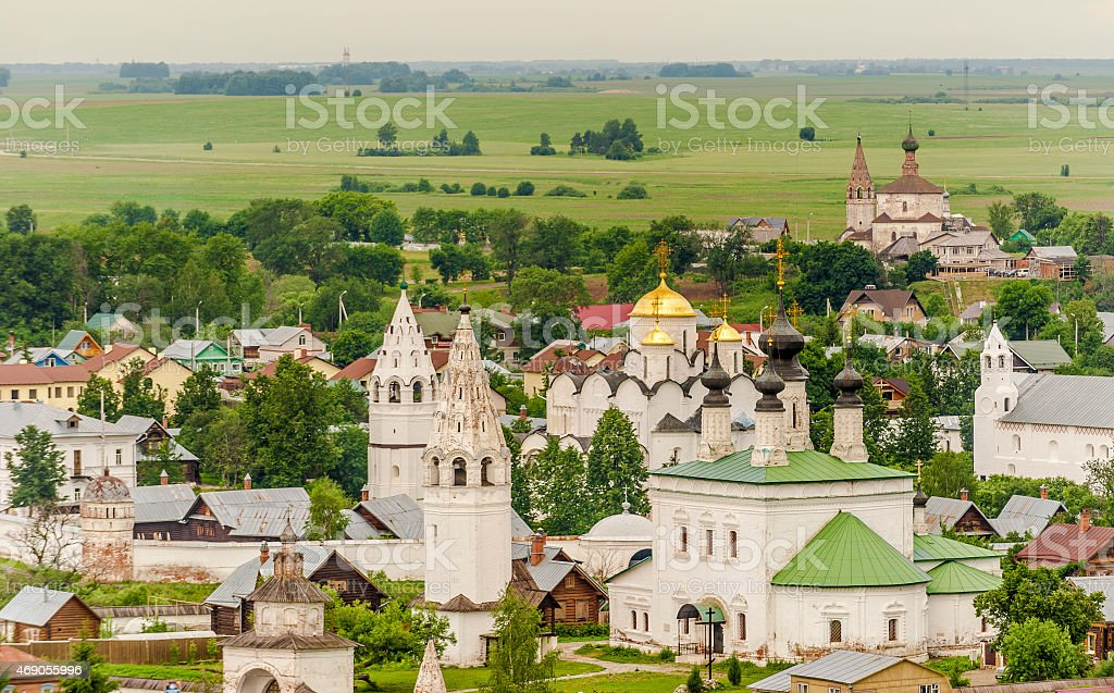 Suzdal Russia from the Hill stock photo