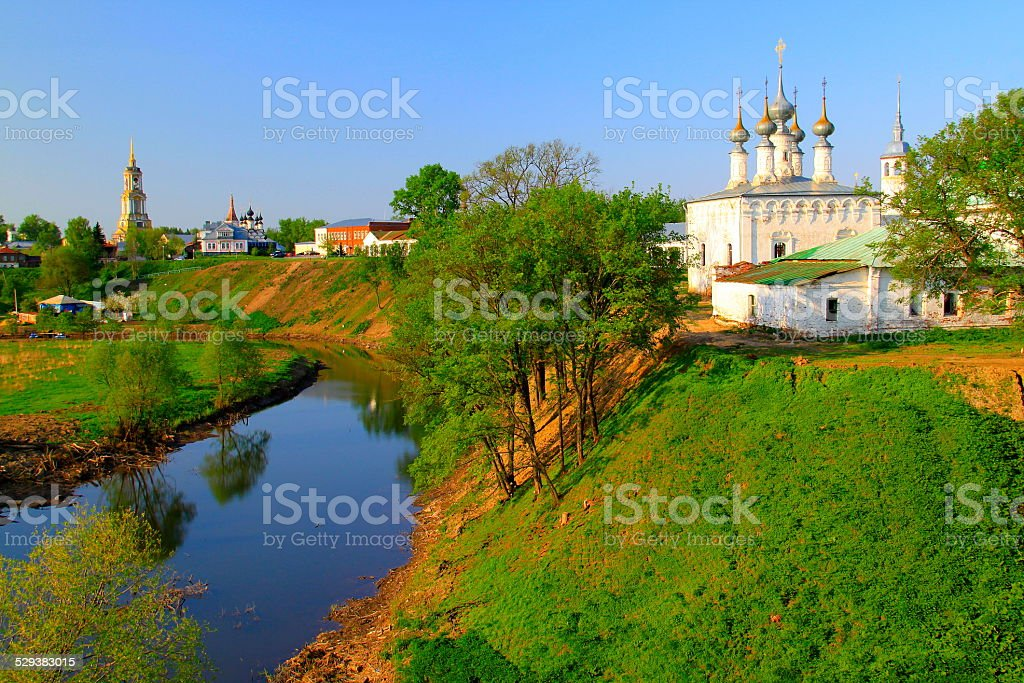 Suzdal: russian orthodox churches landscape and River stock photo