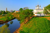 Suzdal: russian orthodox churches landscape and River