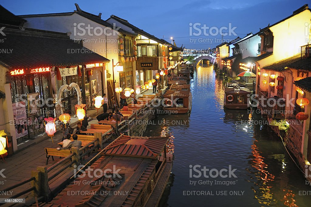 Suzhou by night stock photo