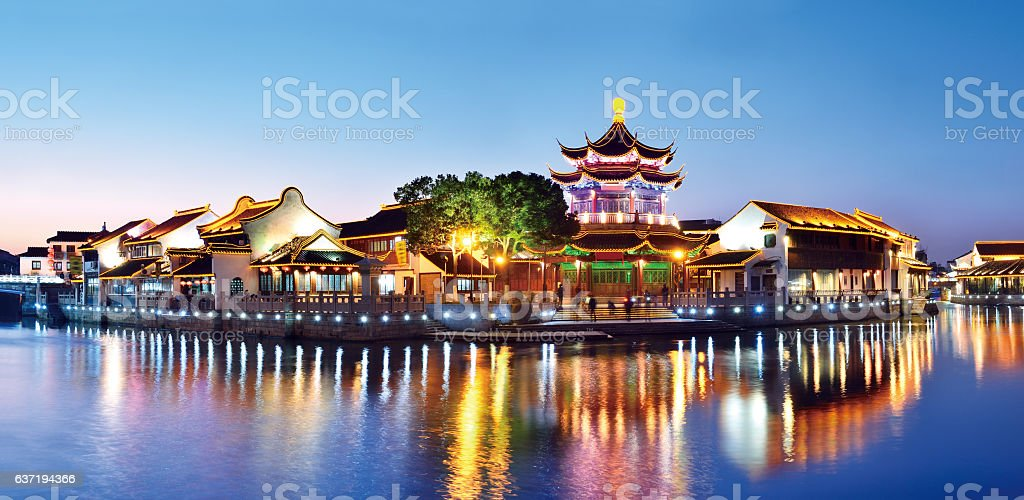 Suzhou Garden at Sunset stock photo