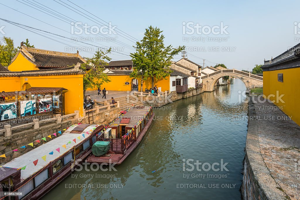 Suzhou old town canal and folk houses stock photo