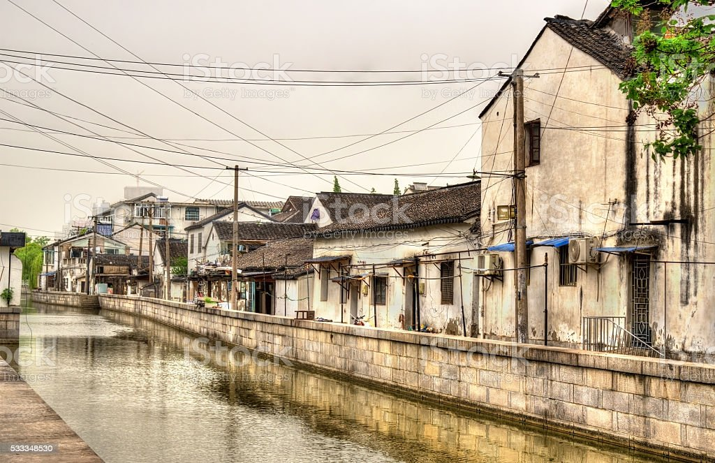 Suzhou old town canals and houses stock photo
