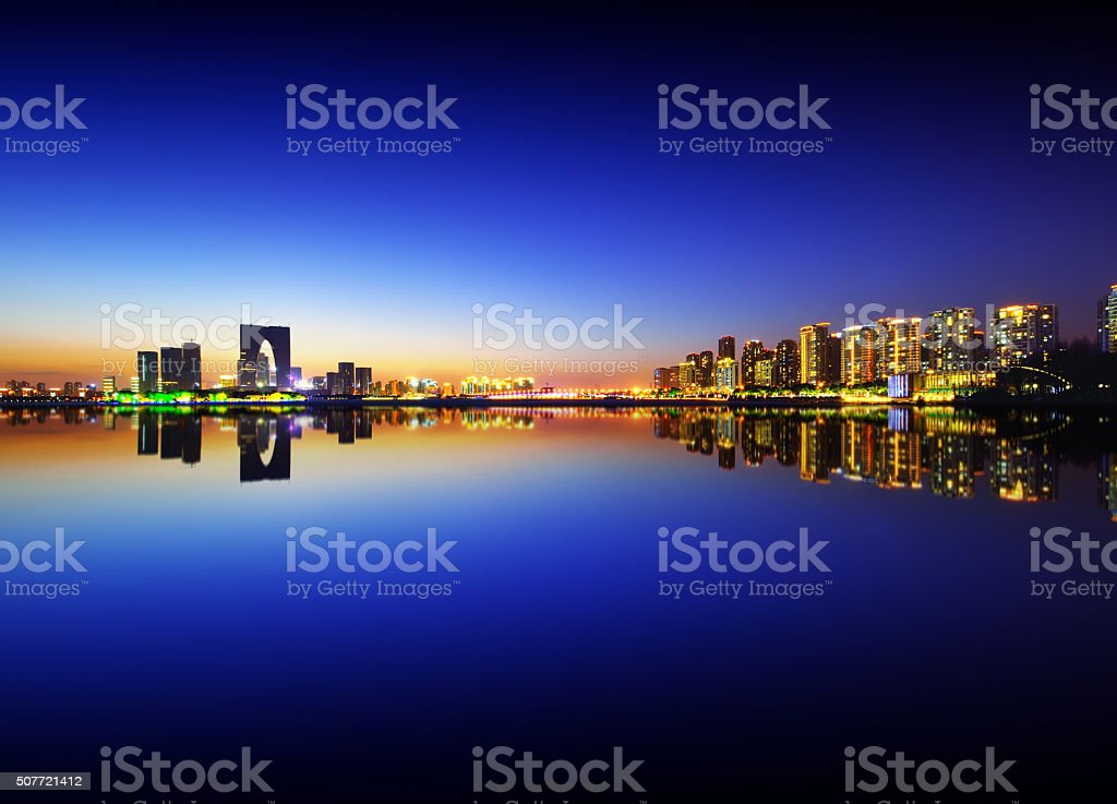 Suzhou Skyline in Night stock photo